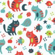 Cat seamless pattern — Stock Vector