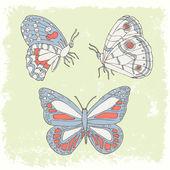 Бабочка рука нарисованные набор — Cтоковый вектор