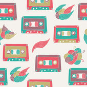 Cassette seamless pattern — Stock Vector