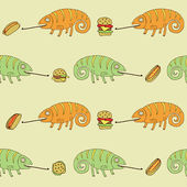 Chameleons and fast foods — Stock Vector