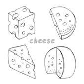 Sketch cheese collection — Stock Vector