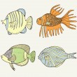 colorful cartoon fish set — Stock Vector