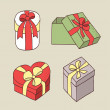 Gift boxes with bow — Imagen vectorial