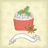 Christmas cake card — Stock Vector