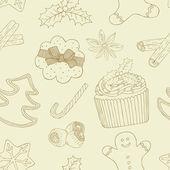 クリスマスの食のパターン — ストックベクタ