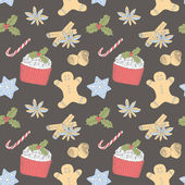 Christmas food pattern — 图库矢量图片