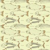 бесшовный фон с ретро рыбы — Cтоковый вектор