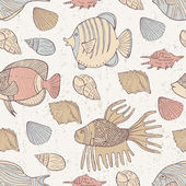 Retro fish seamless pattern — Stock Vector