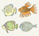 Conjunto de peces coloridos dibujos animados — Vector de stock