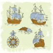 Ships retro set — Stock Vector #34492331