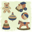 Hand drawn retro toys set — Vettoriali Stock