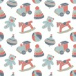 Retro toys seamless pattern — Stockvectorbeeld