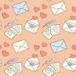 Love letter seamless background — Stockvectorbeeld