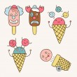 Ice cream circus set — Stock Vector