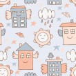 Stock Vector: Flying house seamless pattern