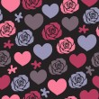 Heart rose seamless pattern — Stock Vector