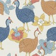 Guinea fowl seamless pattern — Stock Vector