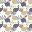 Guinea fowl seamless pattern — Stockvectorbeeld