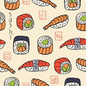 Sushi seamless pattern — Stock Vector