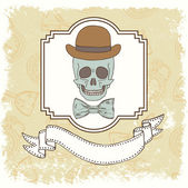 Gentleman skull card — Vector de stock