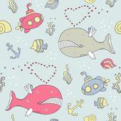 Sea life seamless background — Stock Vector