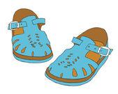 Retro child sandals — Stock Vector