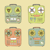 Old tape recorder set — Vector de stock