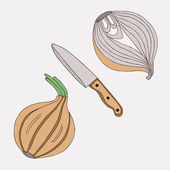 Onions with knife. — Stock Vector