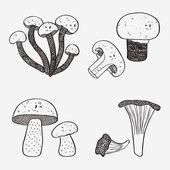 набор грибов каракули — Cтоковый вектор