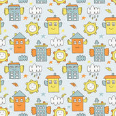 Flying house seamless pattern — Vector de stock