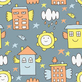 Flying house seamless pattern — Stock Vector