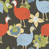 Guinea fowl seamless pattern — Stockvector