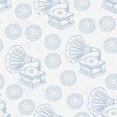Gramophone hand drawn seamless — Stock Vector