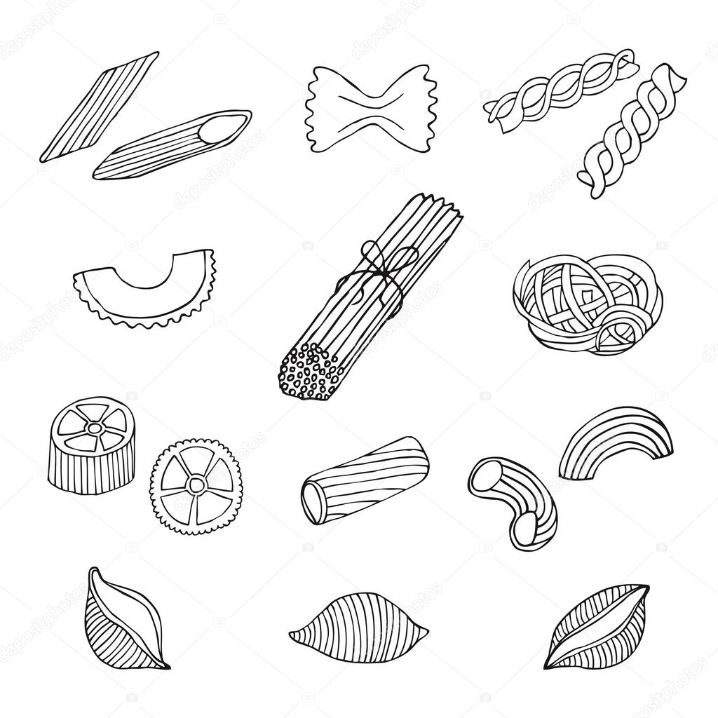 Hand Drawn Italian Pasta Set. Collection Of Different Types Of ...