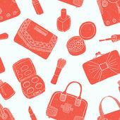 Czerwony kosmetyk i torba tło — Wektor stockowy