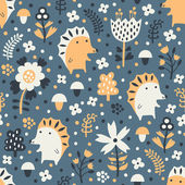 Hedgehog seamless pattern — Stock Vector