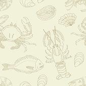 Sea food seamless pattern — Stock Vector