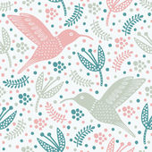 Hummingbird seamless pattern — Stock Vector