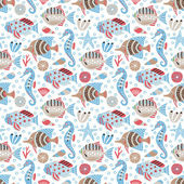 Marine life seamless background — Stock vektor