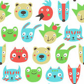 Forest animals seamless pattern. — Stock Vector