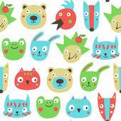 Forest animals seamless pattern. — Vetor de Stock