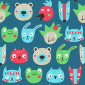 Forest animals seamless pattern. — Vettoriale Stock
