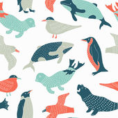Antarctic animals seamless pattern — Stock Vector