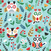 Cute owl seamless pattern. — Stock Vector