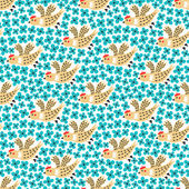Bird and flower seamless pattern — Vecteur