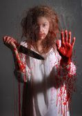 Horror Themed Image With Bleeding Freightened Woman — Stock Photo