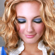 Makeup on a Blonde Woman Looking Down — Stock Photo