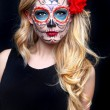 Beautiful Blonde Woman With Painted Sugar Skull Art — Stock Photo
