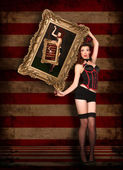 Beautiful Circus Themed Pin Up Sexy GIrl — Stock Photo