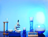 Desk With Science Equipment in Use — Foto Stock